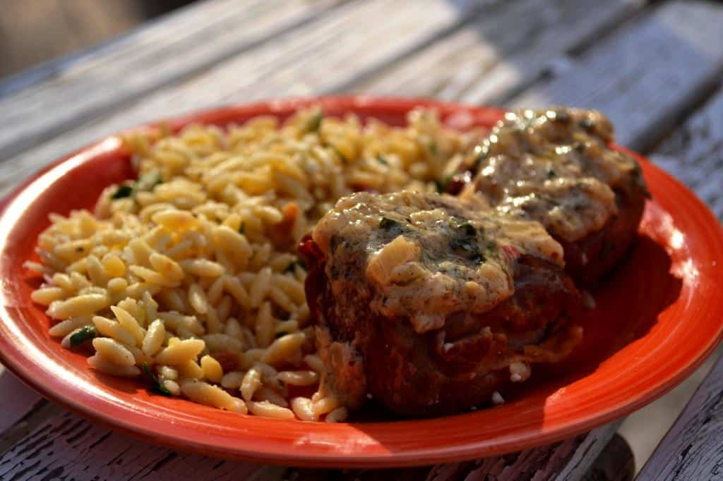 Prosciutto Wrapped Beef Tenderloin with Parmesan Herb Orzo