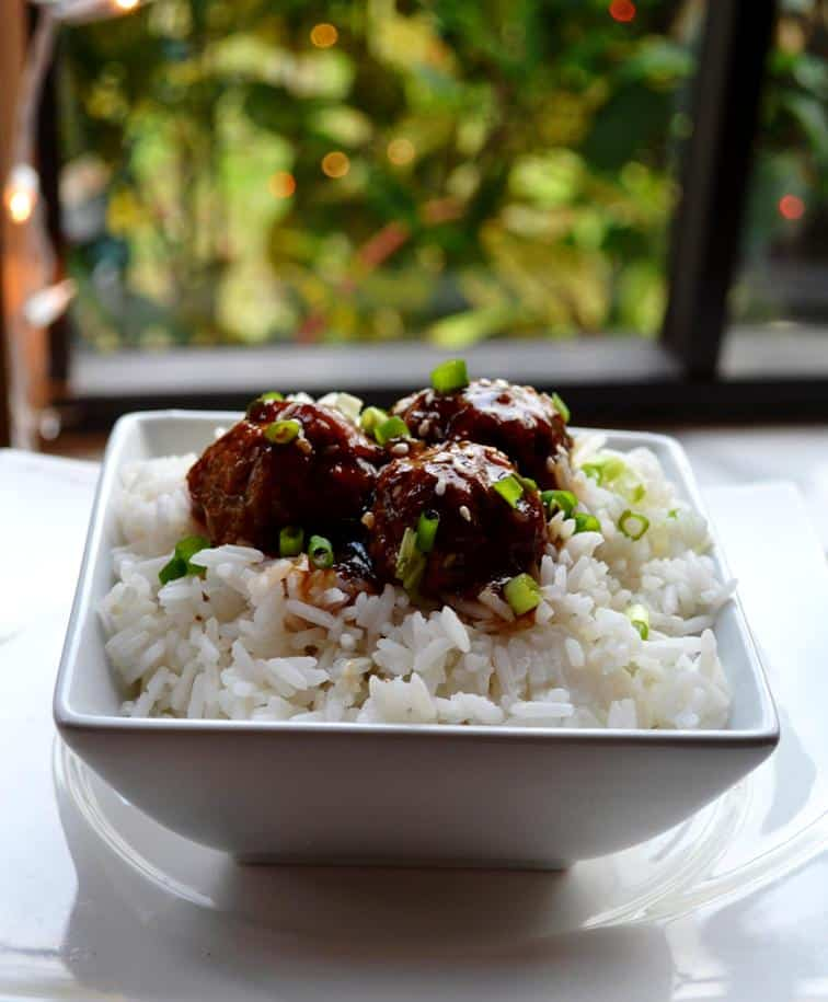 Teriyaki Turkey Meatballs with Rice