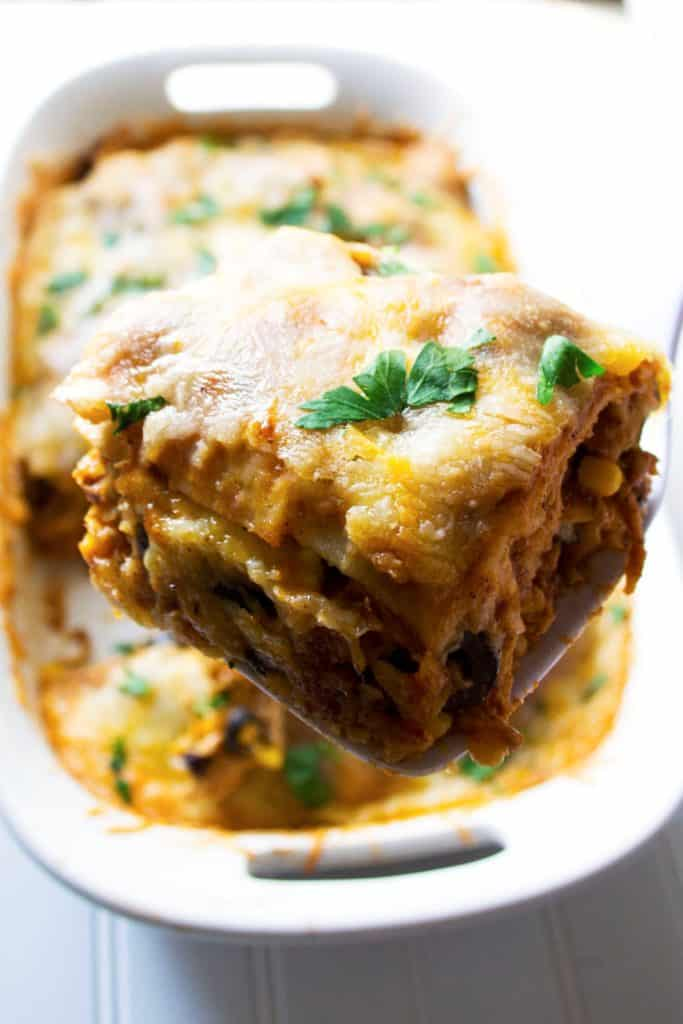 Mexican Lasagna | This Mexican Lasagna is spicy, flavorful and quick to put together. This is sure to be your families new favorite dinner request! | Pack Momma
