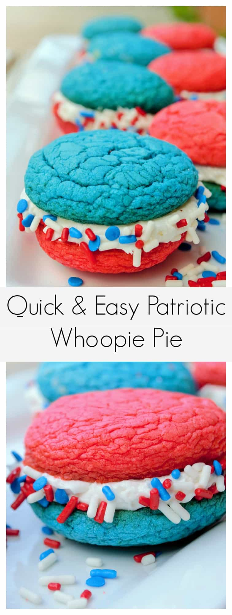 Red White and Blue Whoopie Pie | This easy and amazing Red White and Blue Whoopie Pie recipe is fast to make, delicious to eat and perfect for all of your Memorial Day and Fourth of July festivities!! | Pack Momma | https://www.packmomma.com