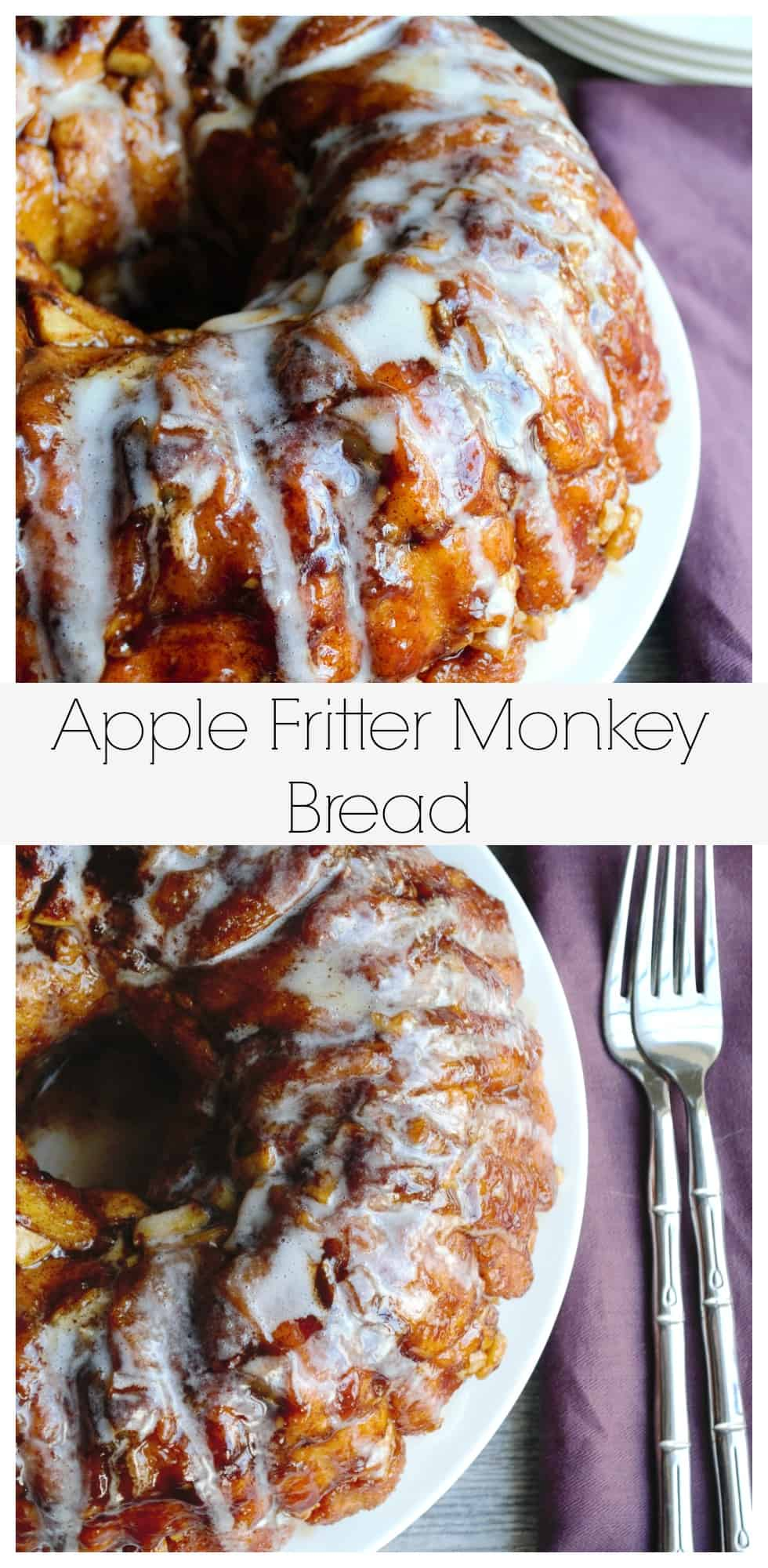 Apple Fritter Monkey Bread | This Apple Fritter Monkey Bread is tender, crunchy and gently layered with apples, walnuts and cinnamon. Perfection! | Pack Momma | http://www.packmomma.com