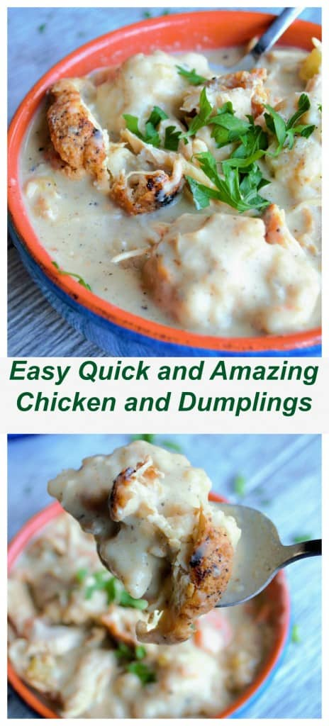 Easy Quick and Amazing Chicken and Dumplings is a hearty blend of roasted chicken and plump dumplings in a perfectly seasoned creamy soup.