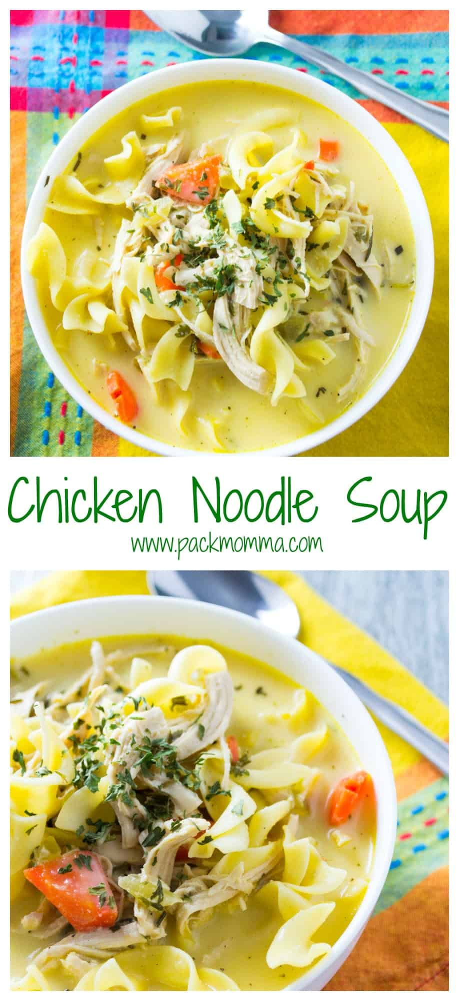 Easy Homemade Chicken Noodle Soup | This Easy Homemade Chicken Noodle Soupis definitely not the can of soup from your childhood. Hearty, creamy and nutritious, this soup will make being a grown up worth it! | Pack Momma | https://www.packmomma.com