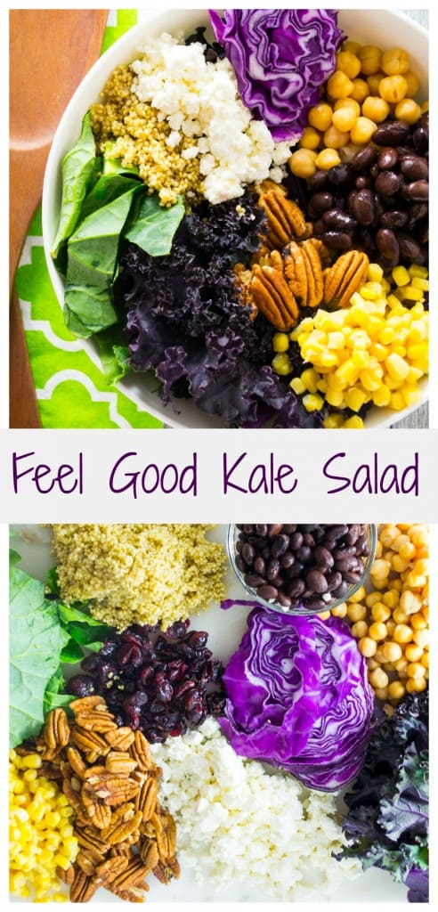 This Feel Good Kale Salad makes sticking with those New Years resolutions all worth while. It tastes great, looks pretty and instantly makes you feel better knowing you are eating on the right track!