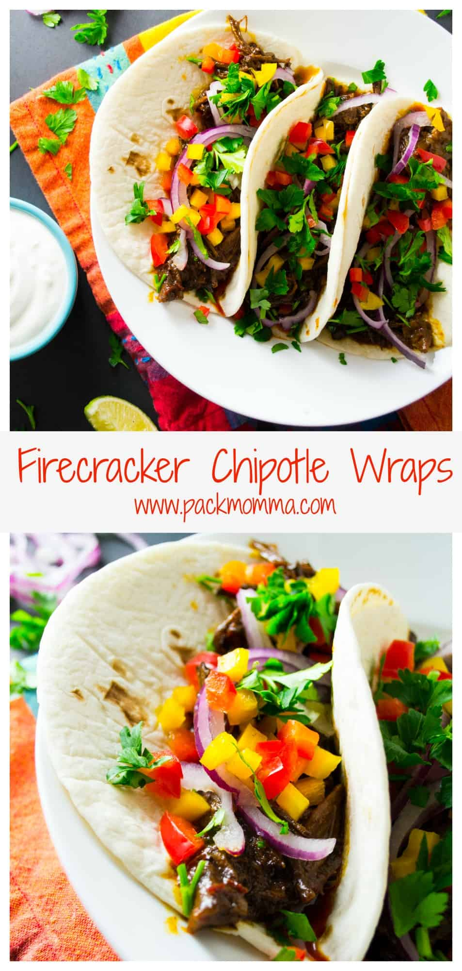 Firecracker Chipotle Beef Wraps | Firecracker Chipotle Beef Wraps are HOT, HOT, HOT with a hint of sweet.  They are the perfect meal to set your mouth on fire and have your belly rumbling for more!! | Pack Momma | https://www.packmomma.com