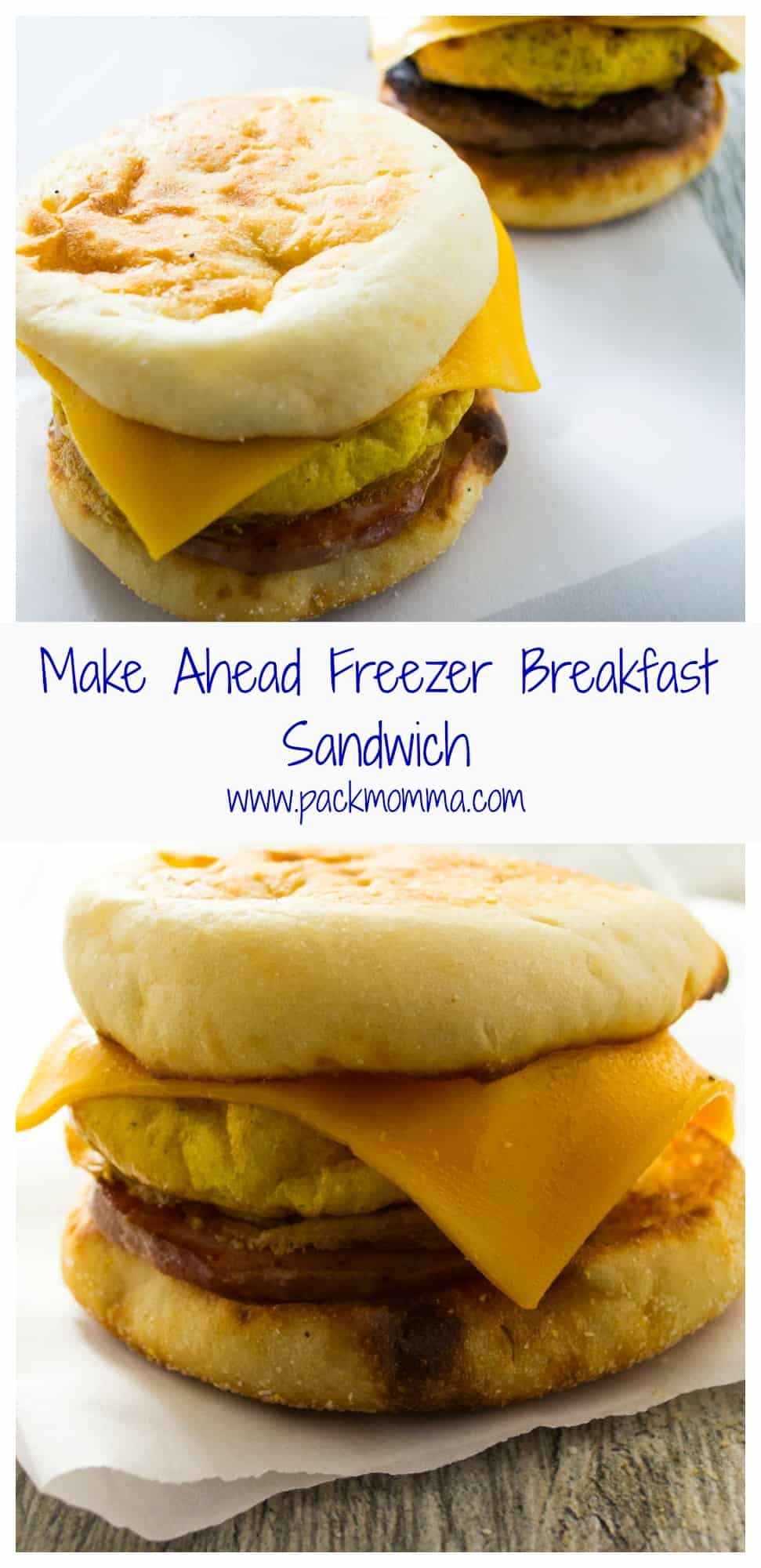 Make Ahead Freezer Breakfast Sandwiches | Make Ahead Freezer Breakfast Sandwich will save you time in the morning and feed your family a healthy, nutritious breakfast as you are flying out the door! | Pack Momma | https://www.packmomma.com