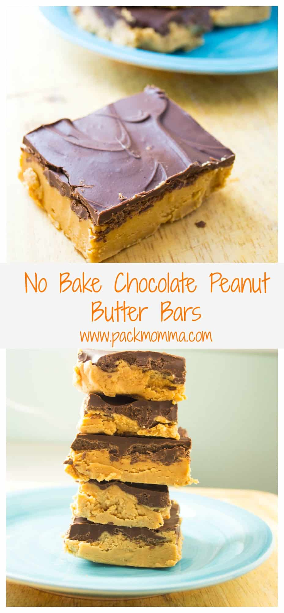 No Bake Chocolate Peanut Butter Bars   No Bake Chocolate Peanut Butter Bars is the perfect combination of creamy peanut butter topped with a thick layer of rich chocolate. The best part?.. you don't even have to heat up your oven!   Pack Momma   https://www.packmomma.com