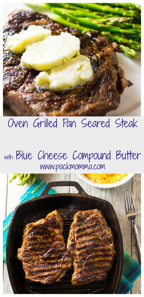 Perfectly pan-seared steak topped with decadent blue cheese compound butter .. the perfect steak dinner made right in your own kitchen!!
