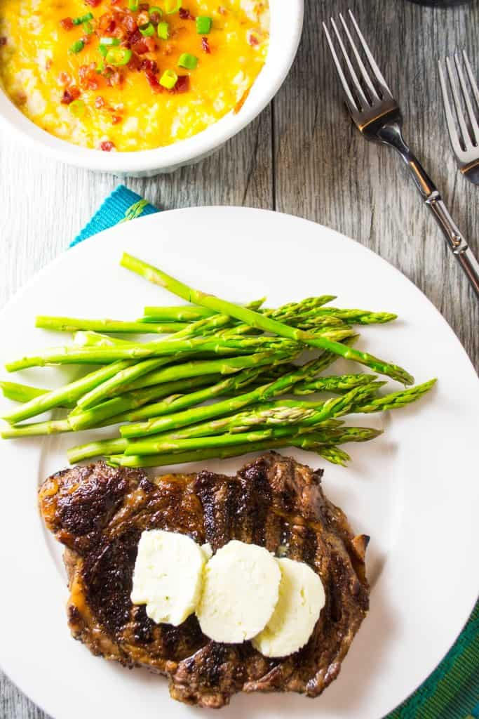 Oven Grilled Pan Seared Steak with Blue Cheese Compound Butter | Oven Grilled Steak with Blue Cheese Compound Butter is perfectly pan-seared steak topped with decadent blue cheese compound butter .. the perfect steak dinner made right in your own kitchen!! | Pack Momma | https://www.packmomma.com