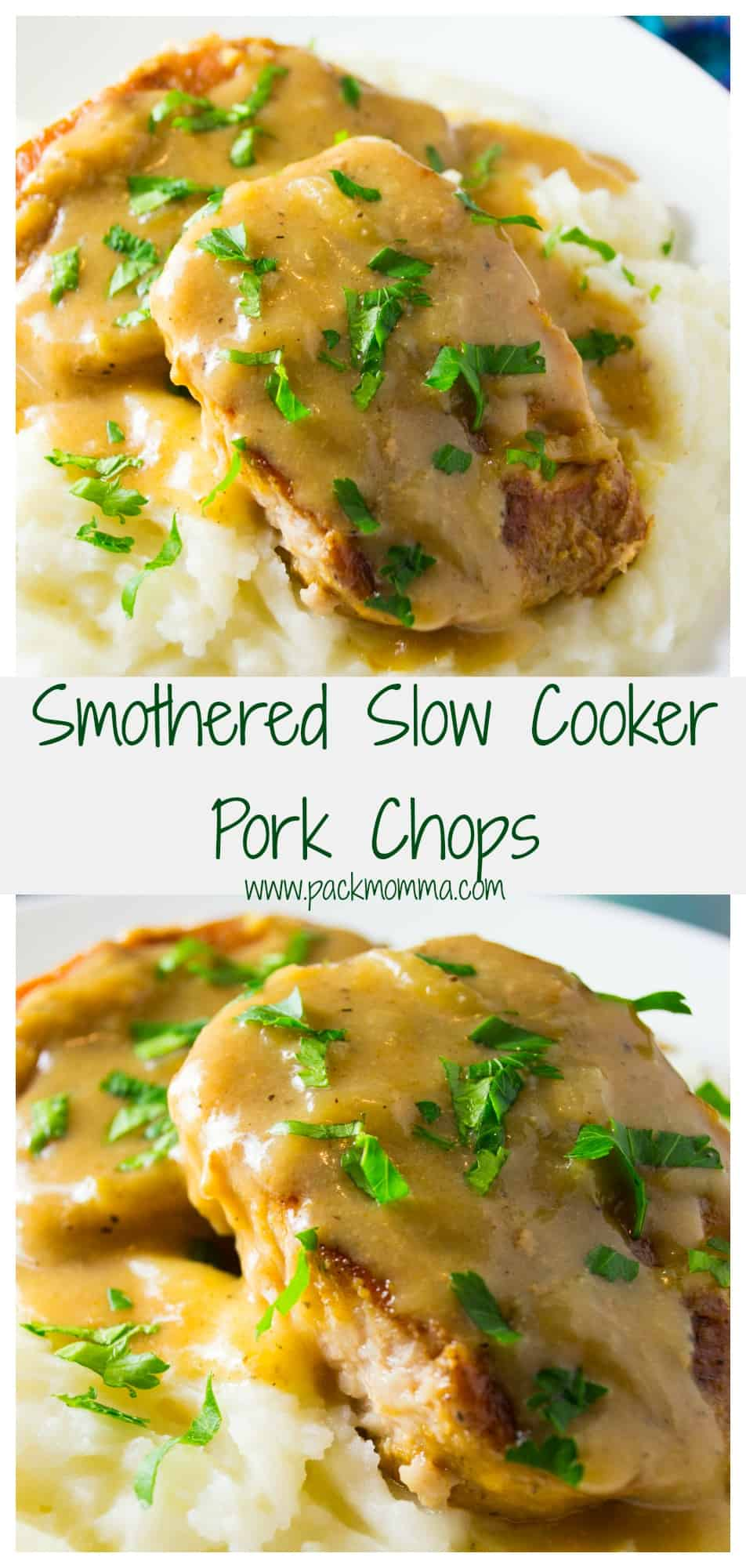 Easy Slow Cooker Pork Chops | These Easy Slow Cooker Pork Chopsare fork tender, tasty and smothered in a rich creamy onion sauce. You will never over cook pork chops again! | Pack Momma | https://www.packmomma.com