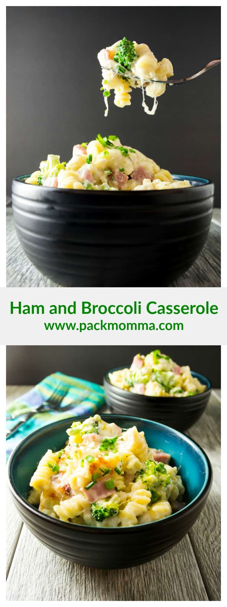 Ham and Broccoli Casserole | This Ham and Broccoli Casserole is amazing, easy and delicious! Hearty chunks of ham, broccoli florets and pasta in a creamy cheese sauce - Perfect! | Pack Momma | https://www.packmomma.com