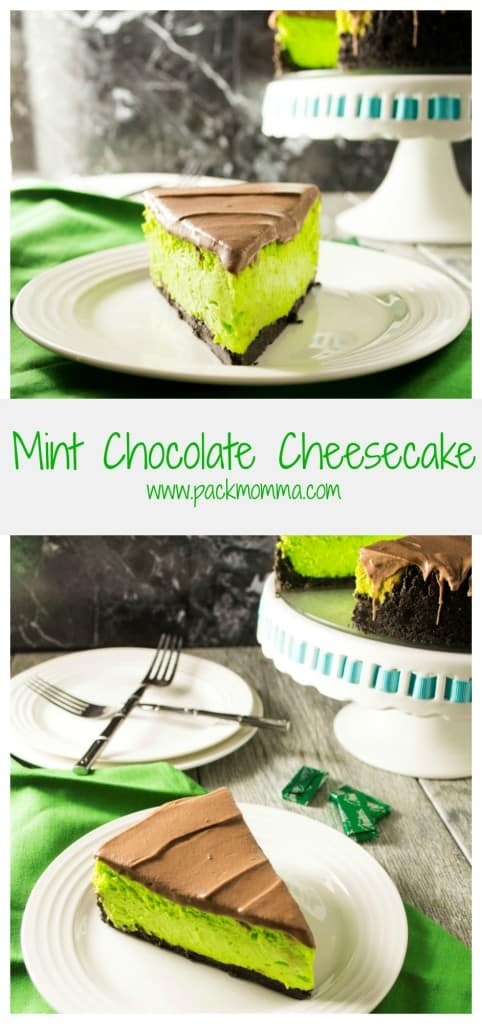 This bright green Mint Chocolate Cheesecake is the perfect sweet treat to bring to your next St. Patrick's Day celebration!!