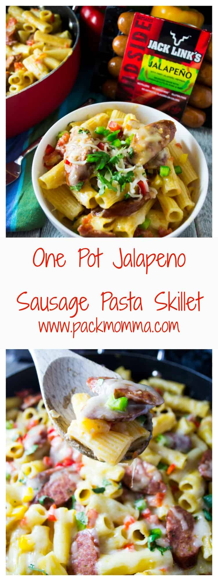 One Pot Jalapeno Sausage Pasta Skillet | Bring dinner to life with this bold, flavorful One Pot Jalapeno Sausage Pasta Skillet meal thanks to Jack Link's Wild Side Sausage. Done in 30 minutes and only one pot to clean!! | Pack Momma | https://www.packmomma.com