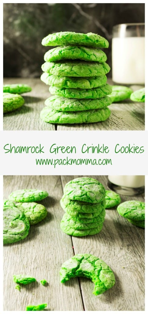 These soft, delicious Shamrock Green Crinkle Cookies are easy to make and fun to color.