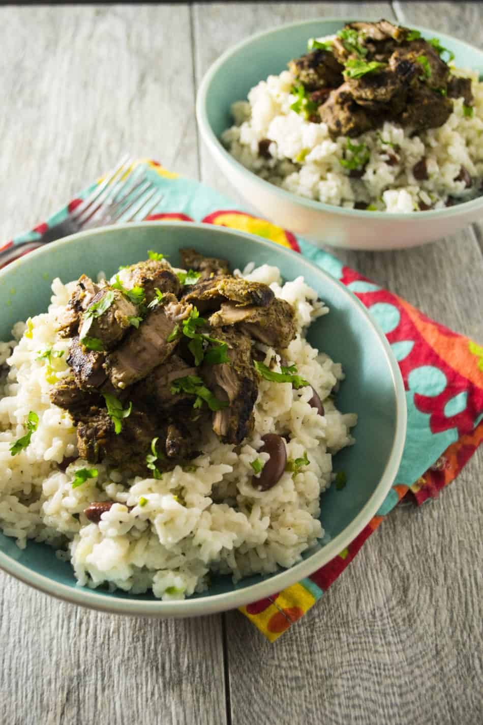 Jerk Pork with Jamaican Rice and Peas