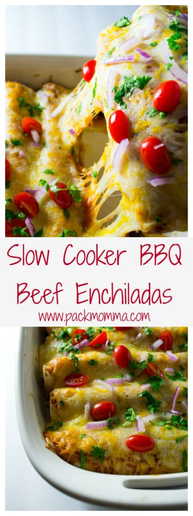 These Slow Cooker BBQ Beef Enchiladas are hearty and packed full of delicious BBQ flavor. An amazing new twist on a family favorite!! www.packmomma.com