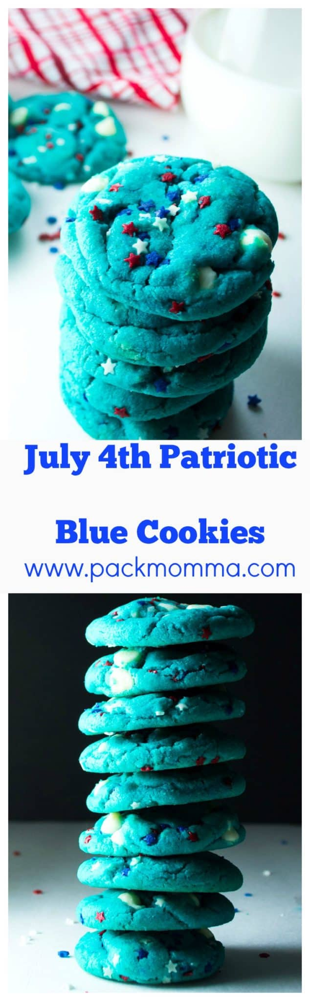 July 4th Patriotic Blue Cookies | Celebrate your red, white and blue with these festive (... and ADORABLE) July 4th Patriotic Blue Cookies! | Pack Momma | https://www.packmomma.com