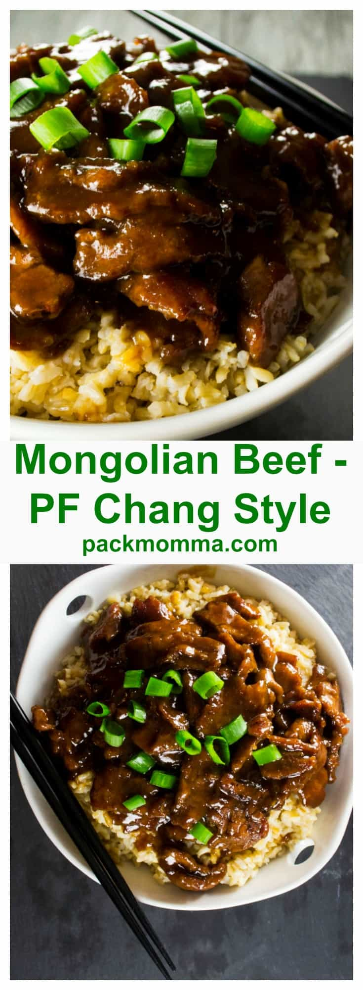 P.F. Chang Style Mongolian Beef | This sweet and spicy P.F. Chang's Mongolian Beef dish is rich with Asian inspired flavors and tastier than any Chinese take out you could have delivered. | Pack Momma | https://www.packmomma.com