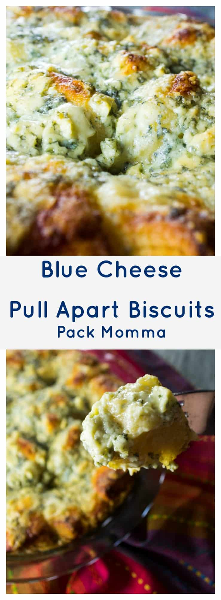 Blue Cheese Appetizer Biscuits | Blue Cheese Appetizer Biscuits is a hot, cheesy, bubbly appetizer that only has THREE INGREDIENTS! It's the perfect snack for your next social gathering. | Pack Momma | https://packmomma.com