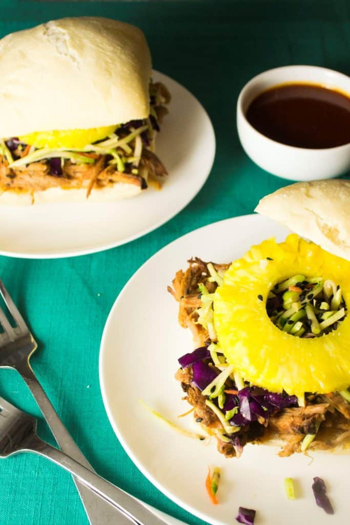 Pineapple Chili Lime Slow Cooker Pork Sandwich with Hawaiian Slaw - Pineapple Chili Lime Slow Cooker Pork Sandwich with Hawaiian Slaw is a fun new twist on pulled pork sandwiches. Sweet, spicy and packed with crunch! | Pack Momma