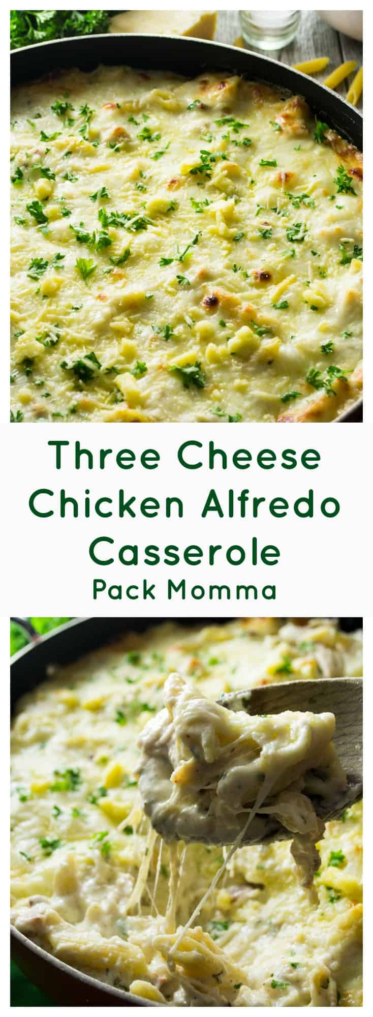 Three Cheese Chicken Alfredo Casserole -Three Cheese Chicken Alfredo Casserole is rich, creamy and the perfect comfort food. Easy to make, this is the ultimate dinner for cheese lovers! | Pack Momma | https://www.packmomma.com