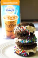 Caramel Macchiato Ice Cream Sandwiches - Caramel Macchiato Ice Cream Sandwiches are the perfect way to treat yourself and stay cool this summer. Easy and delicious - a favorite crowd pleaser! Pack Momma