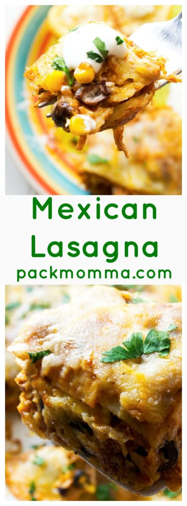 Mexican Lasagna | This Mexican Lasagna is spicy, flavorful and quick to put together. With rich Mexican flavor, tender chicken and melty cheese, this is sure to be your families new favorite dinner request! | Pack Momma