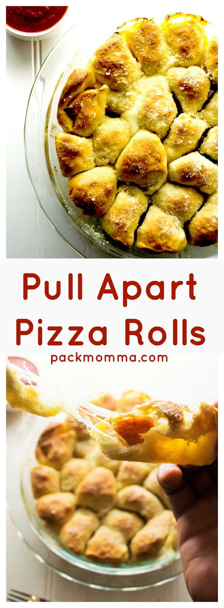 Pull Apart Pizza Rolls - These easy Pull Apart Pizza Rolls are the perfect Go-To to fulfill your pizza cravings. Fast, hot and delicious, they are ideal for snacking and sharing. | Pack Momma | https://www.packmomma.com