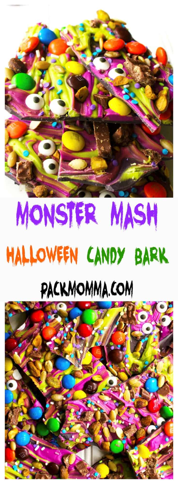Monster Mash Halloween Candy Bark | This festive and fun no-bake Monster Mash Halloween Candy Bark is the perfect sweet treat to scare up some new friends this Halloween | Pack Momma | https://www.packmomma.com