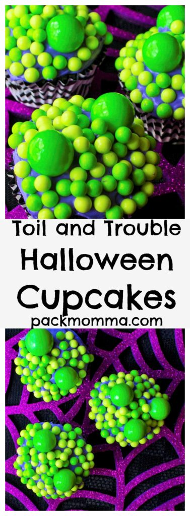 Toil and Trouble Halloween Cupcakes | Celebrate the Halloween season with these festive and fun Toil and Trouble Halloween Cupcakes. Perfect delicious fun for all ages! | Pack Momma