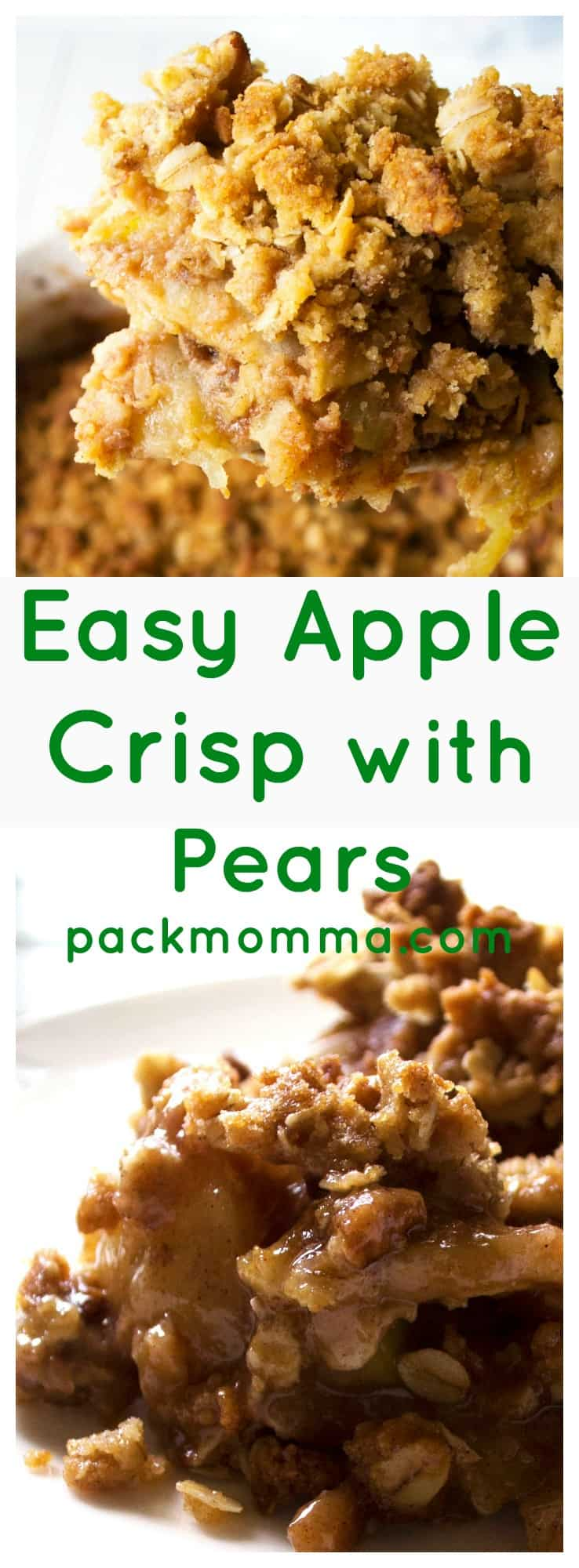 Easy Apple Pear Crisp | Warm your belly and bring a smile to your face with this delicious recipe for Easy Apple Pear Crisp. Enjoy a new twist on a classic favorite dessert. | https://www.packmomma.com