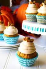 Pumpkin Cupcakes with Maple Cream Cheese Frosting | Super moist, super flavorful these Pumpkin Cupcakes with Maple Cream Cheese Frosting are decadent, indulgent perfection!... with pecans on top! | Pack Momma | www.packmomma.com