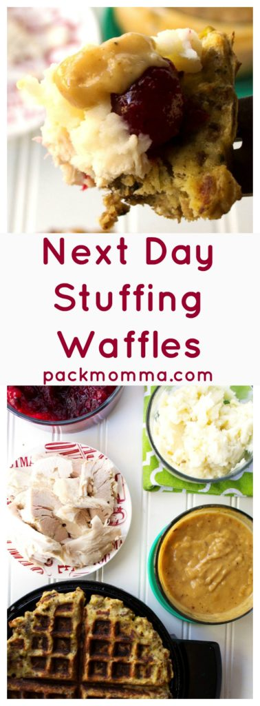 Next Day Stuffing Waffles | Next Day Stuffing Waffles are the most delicious way to gather your family together and free your refrigerator of all those holiday leftovers. | Pack Momma | www.packmomma.com