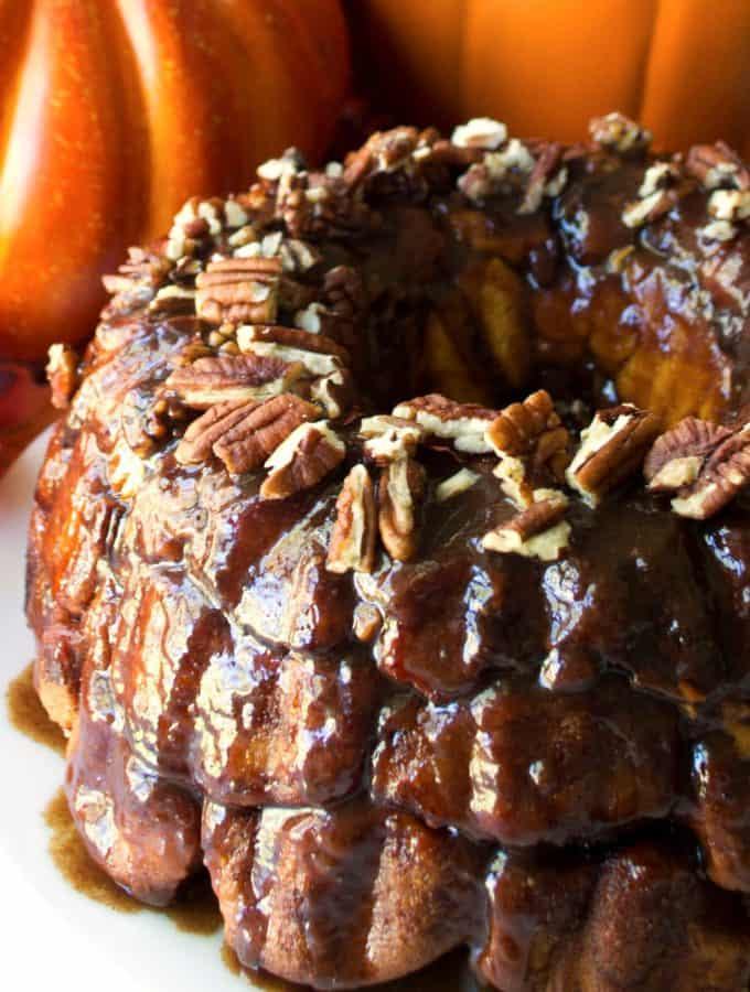 Pumpkin Monkey Bread with Salted Caramel Glaze