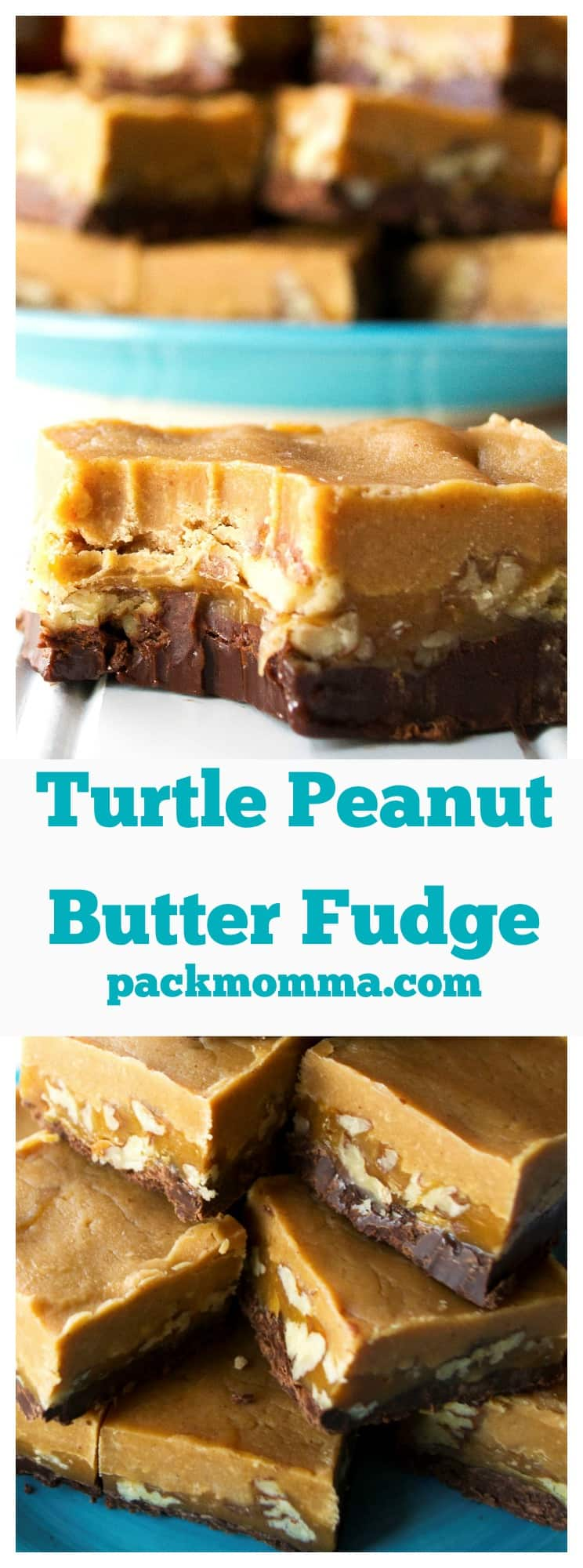 Turtle Peanut Butter Fudge | An easy no-bake recipe for creamy, rich, decadent Turtle Peanut Butter Fudge. | Pack Momma | https://www.packmomma.com