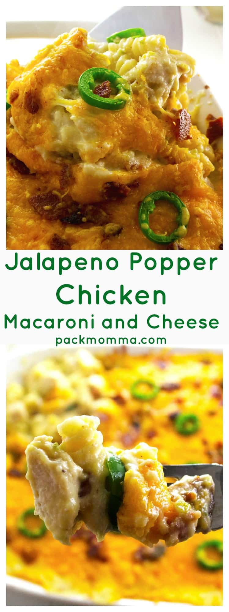 Jalapeno Popper Chicken Macaroni and Cheese | Jalapeno Popper Chicken Macaroni and Cheese is the perfect combination of spicy jalapeno peppers, chicken and rich, creamy macaroni and cheese. Perfect comfort food! | Pack Momma | https://www.packmomma.com