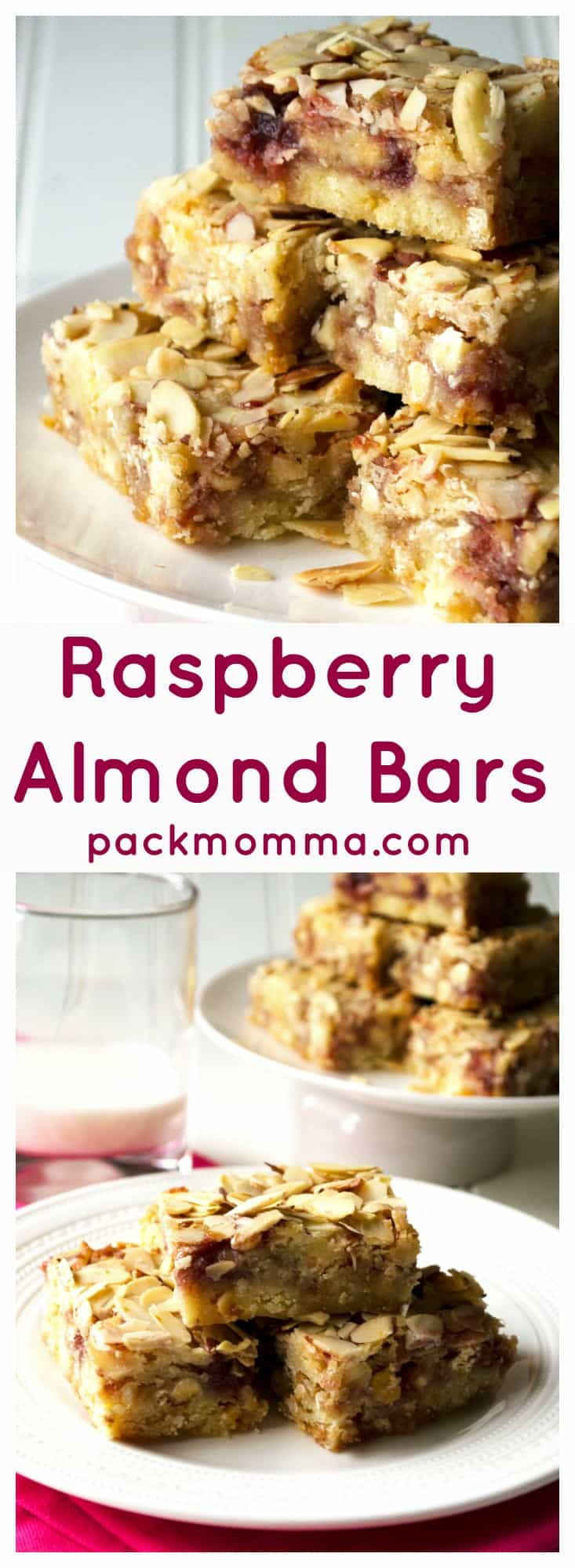 Raspberry Almond Bars | Raspberry Almond Bars are tart, sweet and packed with almond flavor. These are an easy crowd pleasing dessert treat that is sure to be your new favorite. | Pack Momma | www.packmomma.com