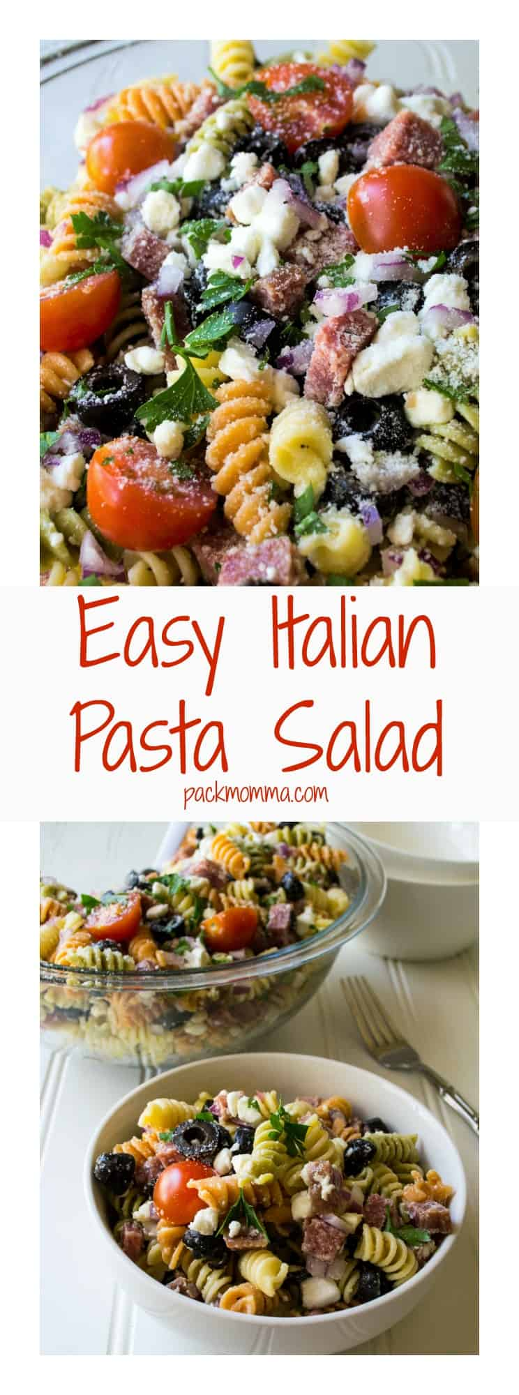 Easy Italian Pasta Salad   Easy Italian Pasta Salad is the perfect cold salad to bring to any BBQ, potluck or summer backyard party. The very best quick, easy and delicious side dish.   Pack Momma   https://www.packmomma.com