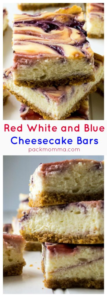 Red White and Blue Cheesecake Bars | Red White and Blue Cheesecake Bars are the perfect sweet treat to celebrate Fourth of July and to share with family and friends this summer. | Pack Momma | www.packmomma.com