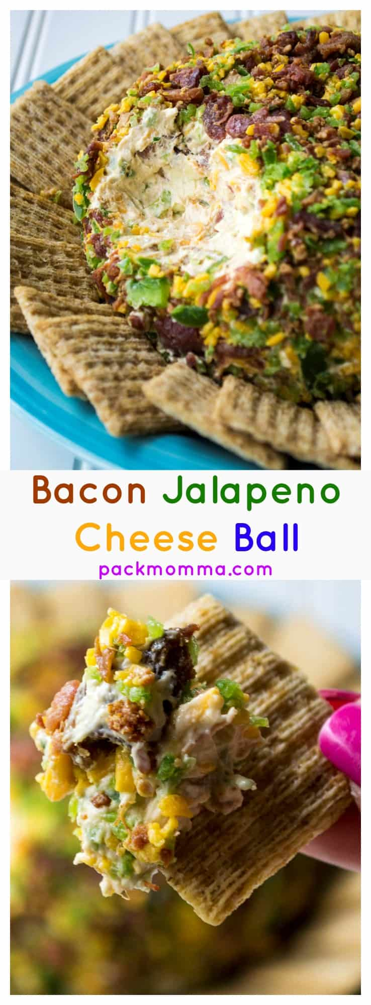 Bacon Jalapeno Cheese Ball | This Bacon Jalapeno Cheese Ball recipe is easy to make and always a party favorite. Bacon, jalapeno and cheese combined to make the perfect party food. | Pack Momma | https://www.packmomma.com