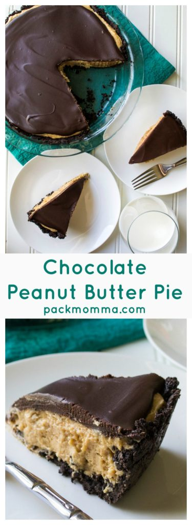 Chocolate Peanut Butter Pie | Chocolate Peanut Butter Pie is an easy, no bake dessert that perfectly combines decadent rich chocolate and light fluffy peanut butter filling.| Pack Momma | www.packmomma.com