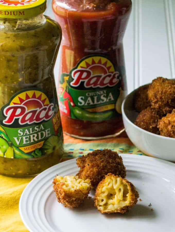 Fried Salsa Verde Macaroni and Cheese Balls