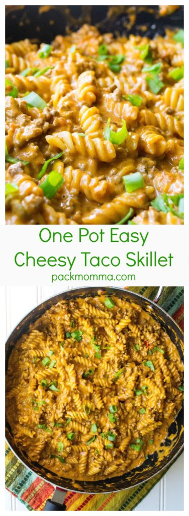 One Pot Easy Cheesy Taco Skillet   One Pot Easy Cheesy Taco Skillet is the perfect combination of spicy meat, creamy cheese and tender pasta. Great for busy weeknights!   Pack Momma   www.packmomma.com