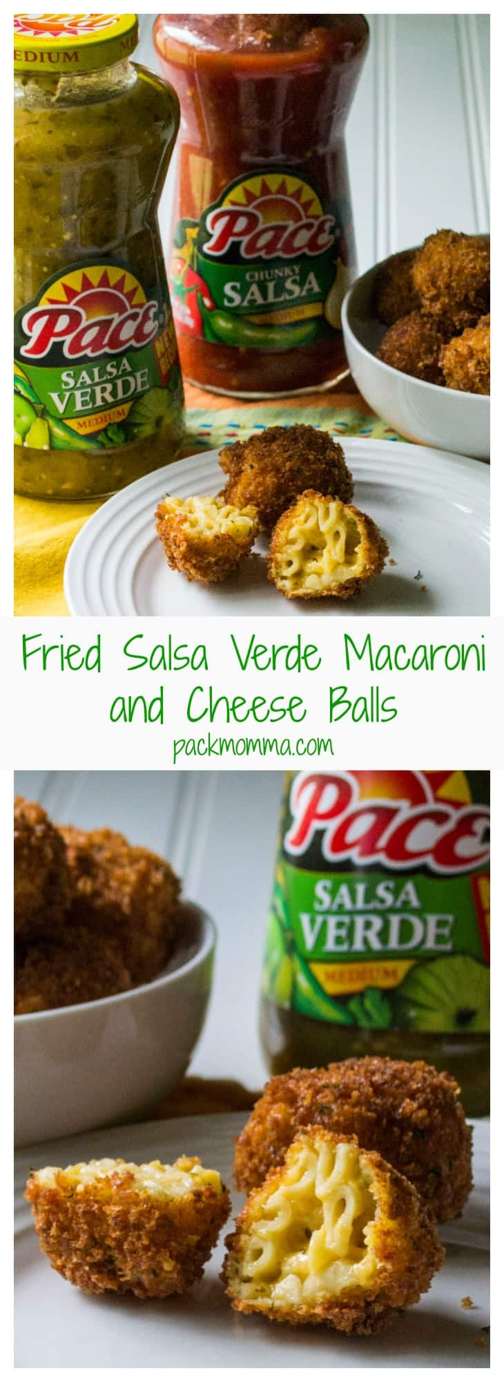 Fried Salsa Verde Macaroni and Cheese Balls | Fried Salsa Verde Macaroni and Cheese Balls are perfect Game Day appetizers with a crispy outside and creamy cheesy southwest mac n cheese on the inside! #MakeGameTimeSaucy #CollectiveBias #Ad | Pack Momma | www.packmomma.com