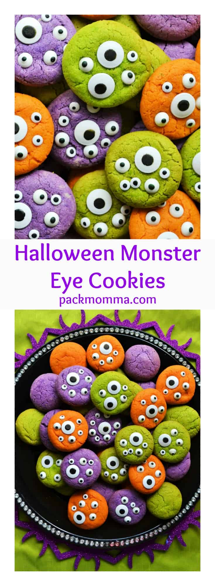Halloween Monster Eye Cookies | Halloween Monster Eye Cookies are easy, festive and super fun to make! Soft vanilla cookies perfectly scary with candy eyeballs.. perfect for Halloween! | Pack Momma | www.packmomma.com #halloween #halloweenfood #halloweencookies #monstercookies #monstereyecookies