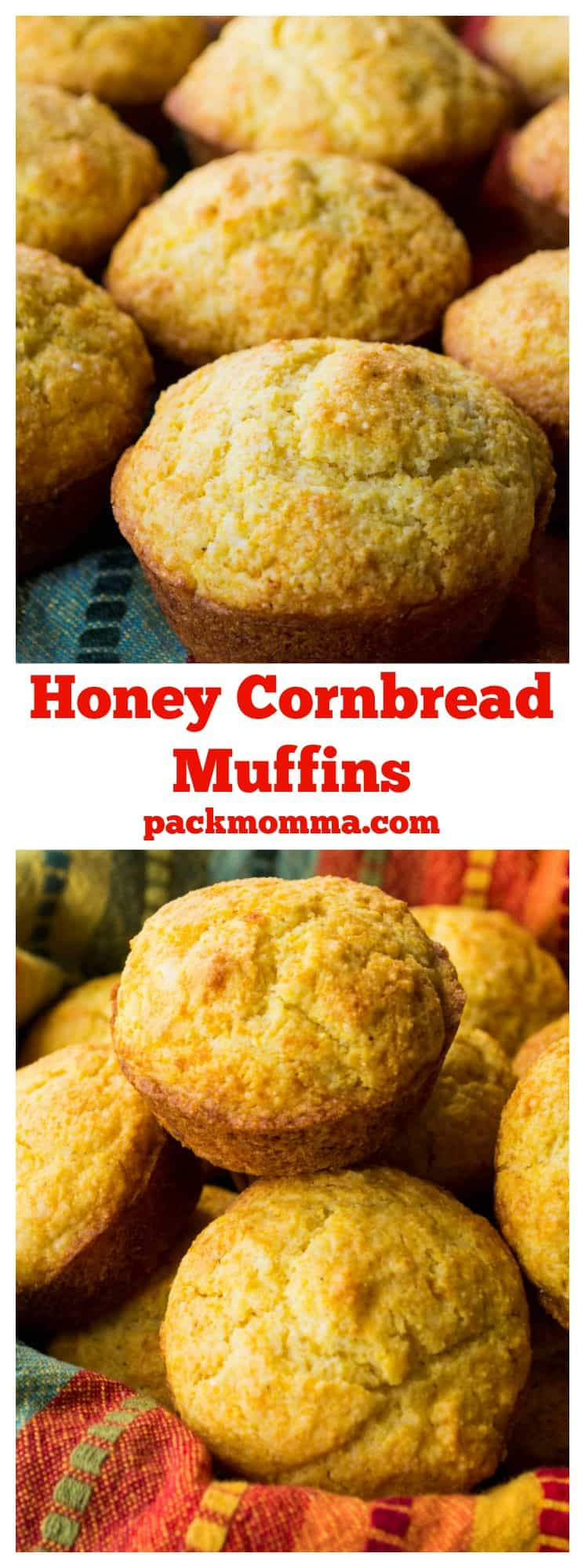 Honey Cornbread Muffins | These Honey Cornbread Muffins are super easy and super fast to make. They are moist and sweet and the perfect complement to any of your favorite meals. | Pack Momma | www.packmomma.com