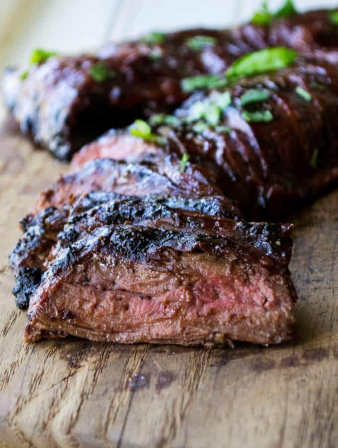 Grilled Flank Steak with Cherry Habanero BBQ Sauce