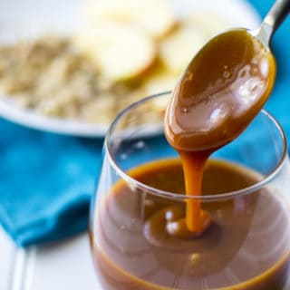 Bourbon Salted Caramel Sauce | Bourbon Salted Caramel Sauce is a sweet velvety sauce perfect for dessert cakes, cookies, pies, ice cream and just about anything else you can think of! | Pack Momma | https://www.packmomma.com