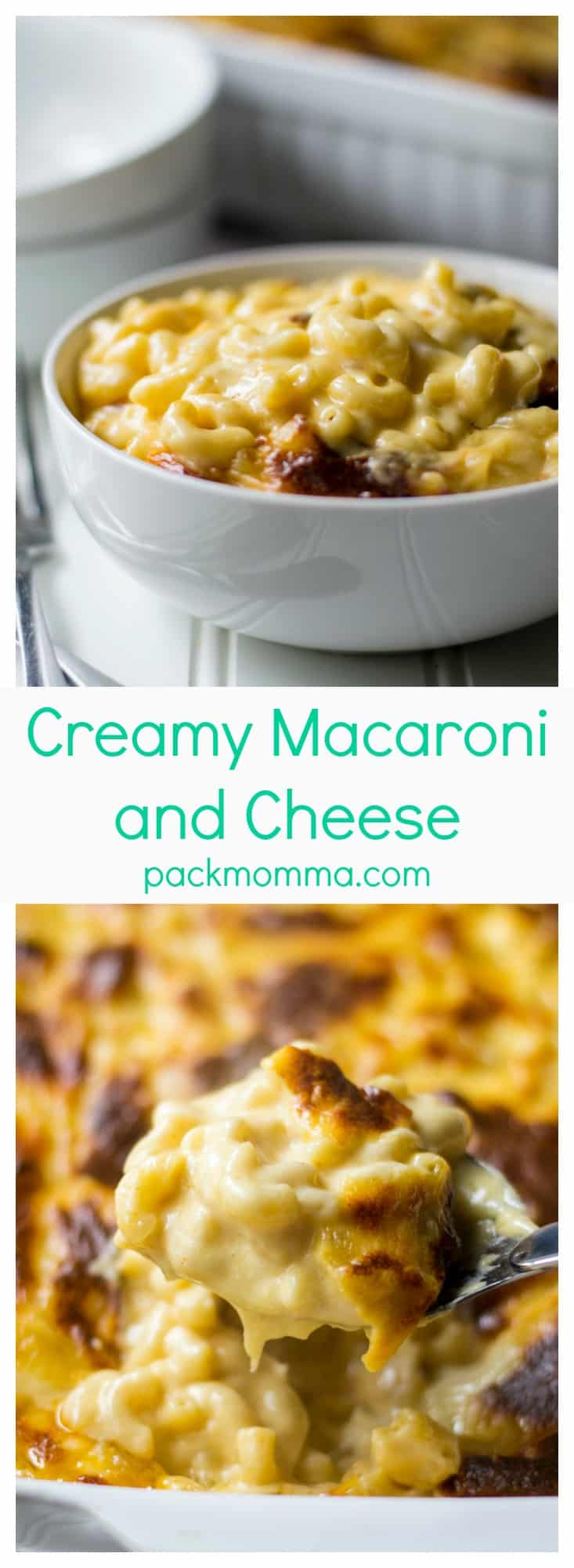 Creamy Macaroni and Cheese   This Creamy Macaroni and Cheese is the only mac and cheese recipe you will ever need.  Rich, decadent and creamy, this is the perfect comfort food dish!   Pack Momma   https://www.packmomma.com