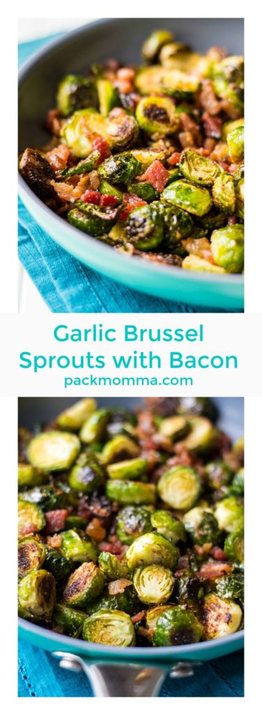 Garlic Brussel Sprouts with Bacon | Garlic Brussel Sprouts with Bacon is the perfect vegetable side dish for any meal and is ideal for serving to family and friends at your holiday table this year. | Pack Momma | http://www.packmomma.com | #brusselsprouts #vegetable #bacon #holidayfood #thanksgivingfood #christmasfood #sidedish